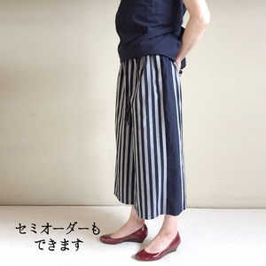 亀田縞 スカートみたいなワイドパンツ(紺グレー太縞×紺無地)skirt typed Wide pants