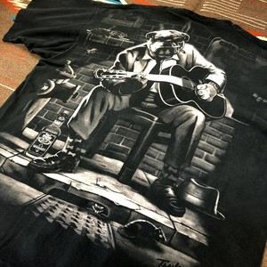 90年代 リキッドブルー ブルドッグ アニマルプリント ビッグサイズ 大判プリント ビンテージ Tシャツ LIQUID BLUE 1996(黒,XL)