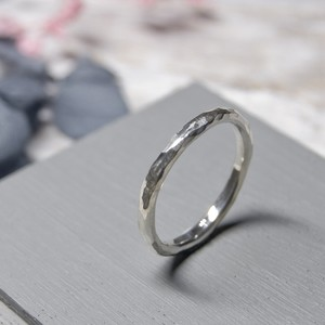 シルバープレーンリング 2.0mm幅 鎚目 3号~27号|WKS  PLANE RING 2.0 sv hammer finish|SILVER950 銀 指輪 FA-241