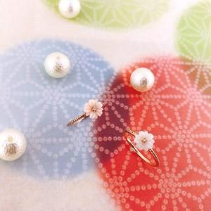 【kiyolakrei】キヨラクレイ リトルフラワー ピンキーリング 1号 3号 5号  マーガレット 白珊瑚 ピンク珊瑚 ダイヤモンド K10 kk03180 kk03170 (CORALIA)