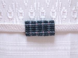 ビーズ織帯留め 格子ブルー03