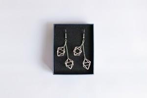 Himmeli Twin Octahedron - Pierce/ Earring (Silver color)