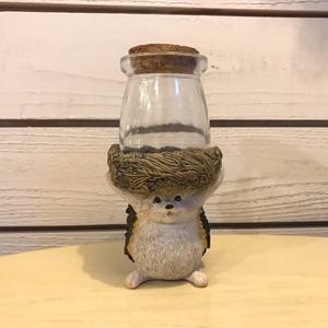 キュートなハリネズミの小物入れ☆コルク付きガラス瓶