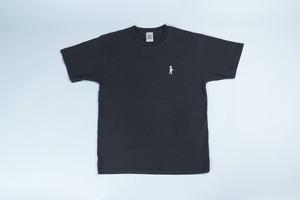 刺繍入りピグメントTシャツ(ブラック)