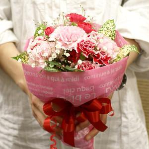 【送料無料】【母の日】【生花・花束】 カーネーションのブーケ (アカ・ピンク系) FL-MD-807
