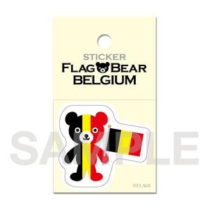 FLAG BEAR STICKER <BELGIUM> ベルギー (小(S))