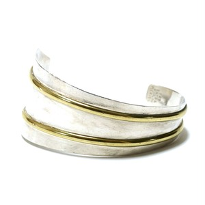 Vintage Sterling Silver Mexican Asymmetry Brass Two Line Bangle