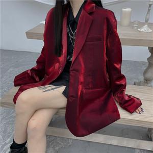 【アウター】韓国系折襟無地シングルブレストスーツジャケット37637549