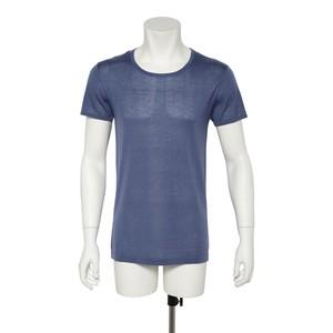 カシミヤ100%クルーネック半袖シャツ インディゴブルー メンズニット 柔らかく暖かい