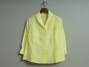 リネンシャンブレーのへちま衿シャツ
