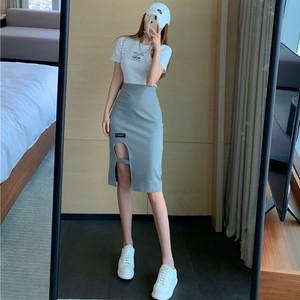 【ボトムス】カジュアル不規則細見セクシー透かし彫り設計感ありスカート43704803