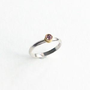 弦のボールエンドを使ったピンクトルマリンのリングStrings ball-end ring (PNK)
