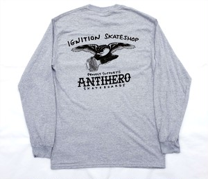 IGNITION SKATE SHOP ANTI HERO 1-8 SUPPORT L/S T-SHIRTS ロングTシャツ GREY