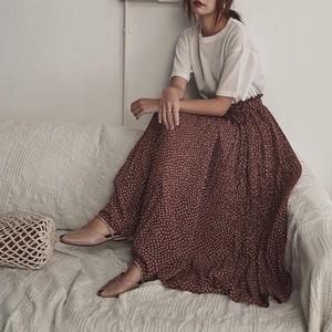 Re【送無】 3color:Dot Pleats Skirt  ドット ロング プリーツ スカート シフォン 送料無料