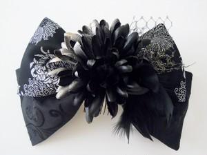 糸菊*リボン髪飾り(黒×シルバー)