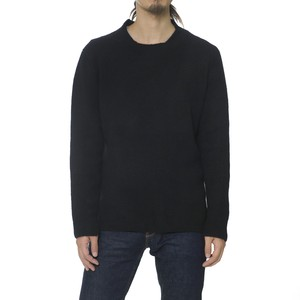 SIDE SLIT CREW NECK KNIT - BLACK