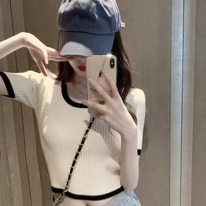 【トップス】ファッション半袖ラウンドネックプルオーバーショート丈Tシャツ30278015