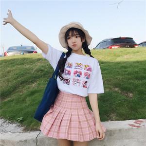 【トップス】夏新作プリントルーズカートゥーン美少女戦士セーラームーンTシャツ