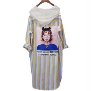 ストライププリントシャツ/ブルー (Stripe Print Shirts)