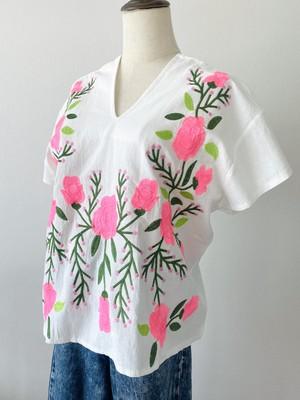 THAILAND 刺繍ブラウス_花_white