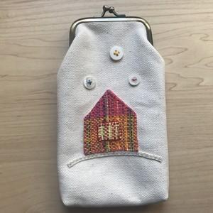 【コラボ商品】さをり織りを使った一点物がま口ポーチ