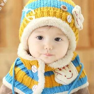 【イエロー×ライトブルー】4色展開! 耳まであったか ニット帽とマフラーのセット ベビー キッズ 赤ちゃん J34
