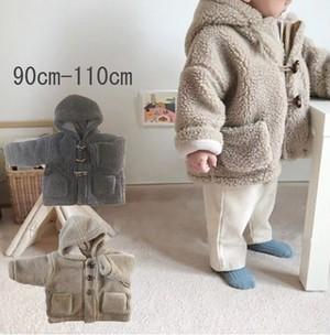 0041  送料無料 キッズ 韓国子供服 コート 男の子 女の子 ボア アウター90cm 100cm 110cm オレンジベージュ グレー