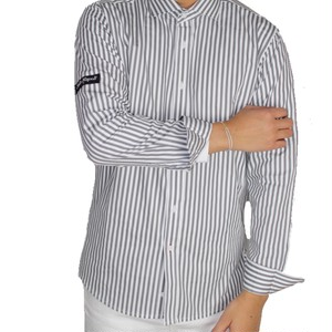 dressy stripe shirt / grey×white Mサイズ完売!