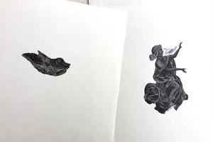 """戸次祥子""""羽追 haneoi"""" (木口木版) BEKKI Shoko/woodcut print"""