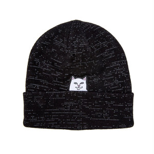 RIPNDIP - Lord Nermal Ribbed Beanie (Black Reflective Yarn)