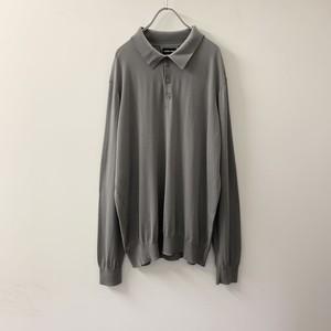 GIORGIO ARMANI ニットポロシャツ グレー イタリア製 size 58 メンズ 古着