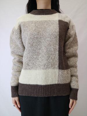 bi-color wool sweater【0413】