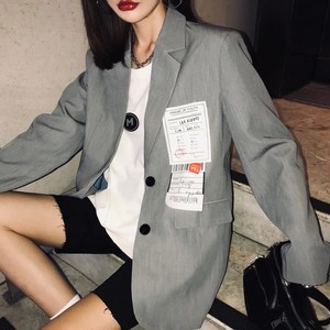 bust label gray jacket