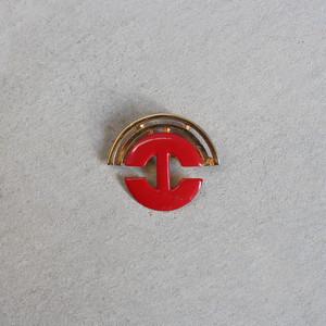 アンティーク ブローチ 赤 / Antique Brand logo Brooch red