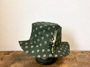leaf linen hat:khaki