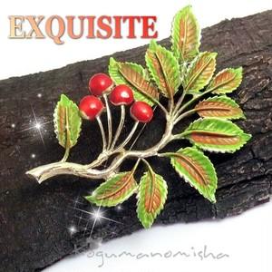 英国 EXQUISITE ★ローワンベリー ヴィンテージ エナメル ブローチ,木の実,1950s,ROWAN BERRY,ナナカマド