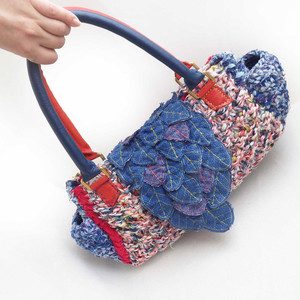 葉っぱカブセの☆裂き編みショルダーバッグ☆ブルー×レッド