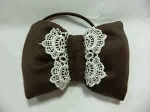 布で縫い縫いヘアゴム レース付(ブラウン)