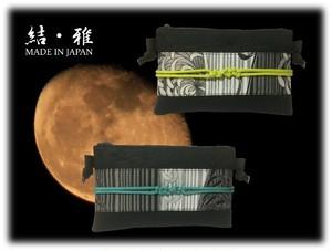 ポーチ 日本製 スマホサイズ 帯び締め風 花とストライプ柄 ファスナー式横型ショルダーポーチ