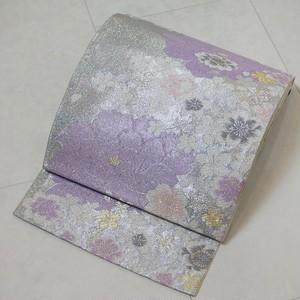 美しい煌めき  振袖 袋帯 牡丹 銀糸 牡丹 白 紫 パステルカラー 195