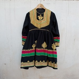 Vintage アフガニスタン パシュトゥン族のワンピース Black