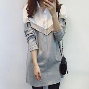 【tops】チェック折り襟カジュアル配色長袖合わせやすいファッション