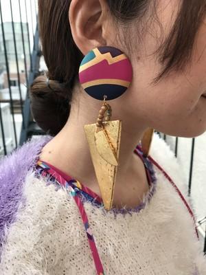 Vintage wood × handpaint super larga earrings ( ヴィンテージ ウッド× ハンドペイント ビッグ イヤリング