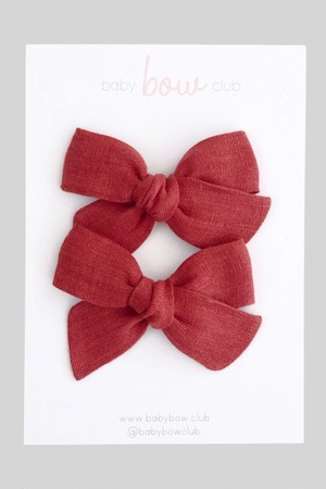 BABY BOW CLUB Brick Linen // Mini Bow // Pigtail Set pin