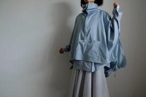 春の新作・セーラーカラーのアノラックポンチョ / レーヨン コットン ポリエステル 【 ブルーグリーン 】 / sailor collar anorak poncho / rayon cotton polyester【 blue green 】