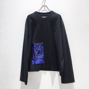 JieDa laminate pocket long sleeve tee black