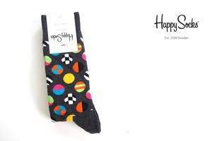 ハッピーソックス|happy socks|クルー丈カジュアルソックス|マルチドット柄ソックス|CLASHING DOT|10117007|グレイ