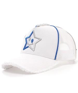 スマイルスター刺繍メッシュキャップ(BLUE×SILVER) ホワイト