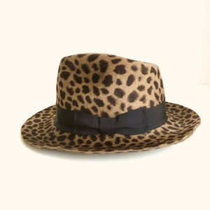 Circle original handmade HAT「Brown LeopardRabbit Fur hat」