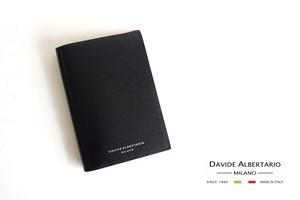 【9月末限定価格】ダヴィデ アルベルタリオ  DAVIDE ALBERTARIO グレインレザーパスポートケース ブラック×レッド